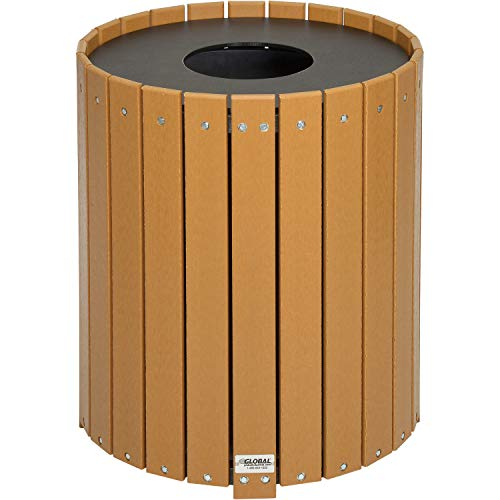 (Round Recycled Plastic Receptacle W/Liner, 32 Gallon, Cedar, Lot of 1)