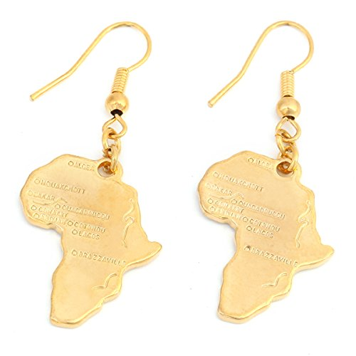 24k Gold Plated Map of Africa Continent Dangle Earring ()