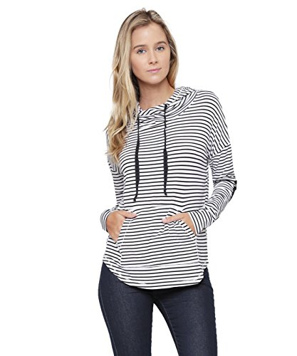 ALYGNE Womens Pullover Funnel Neck Hoodie w/ Elbow Patch WHITE-S
