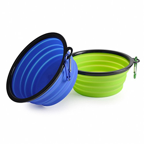 ARTPET Collapsible Dog Bowl, Food Grade Silicone BPA Free, Foldable Expandable Cup Dish for Pet Cat Food Water Feeding Portable Travel Bowl Free Carabiner (Blue+Green)