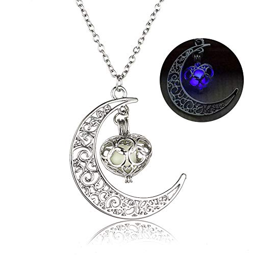 (Onairmall Luminous Series Moon Love Heart Pendant Necklace Fluorescent Necklace,Glow in the Dark)