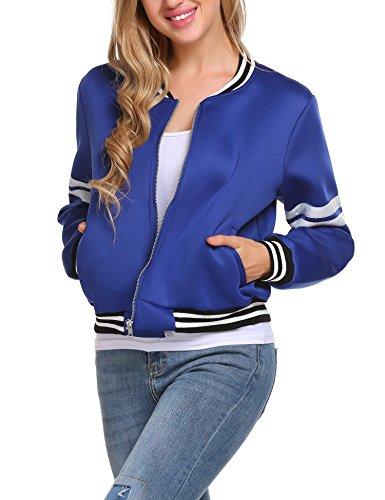 Elesol Womens Bomber Jacket Solid Velvet Flight Jacket Casual Short Zip Up Coat Blue M