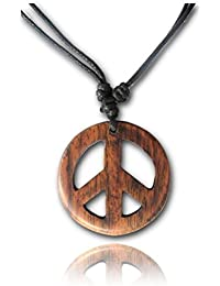 Adjustable Length Organic Wood Peace Sign Pendant Necklace