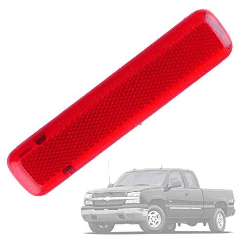 Wadoy Door Panel Reflector Driver Rear Replacement for 03-07 Chevy GMC Trucks SUVs Left Trim Red 15183155 74367