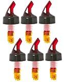(6 Pack) Orange Measured Bottle Pourer - Auto Measuring 1/2 oz.