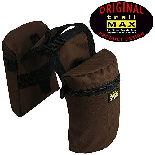 (TrailMax Medium Horse Saddlebags for Trail Riding Saddle, Double-Stitched, 600-denier Weather-Resistant Nylon, Brown)