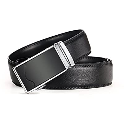 "Men's Belts,iztor Leather Ratchet Dress Belt with Automatic Buckle 1 3/8"" Wider for from 20"" to 44"" Waist"