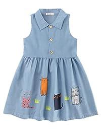 Girls Sleeveless Cat Printing Dress Cotton Breathable Casual Skirt