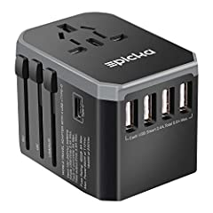 EPICKA universal plug adapter does not convert voltage. And the input voltage of the appliance the adapter is connected to must match the local power voltage.Feature: 4 USB + Type-C PortThis Travel Adapter can use 4 USB and Type-C at same tim...
