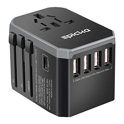 - EPICKA Universal Travel Adapter One International Wall Charger AC Plug Adaptor with 5.6A Smart Power and and 3.0A USB Type-C for USA EU UK AUS