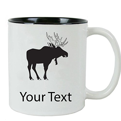 Personalized Custom Moose 11 oz White Ceramic Coffee Mug with White Gift Box