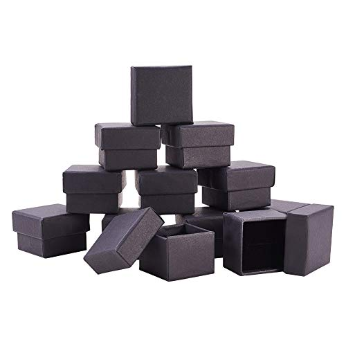 24k Square Ring - BENECREAT 24 Pack Kraft Square Cardboard Jewelry Boxes Ring Box for Jewelry Set, 1.7 x 1.7X 1.18 Inches, Black