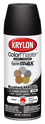 - Krylon K05125407 ColorMaster Paint + Primer, Brushed Metallic, Satin, Oil Rubbed Bronze, 11 oz.