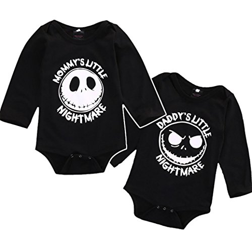Quietcloud Newborn Infant Baby Boys Girls Long Sleeve Romper Jumpsuit Halloween Outfit size 3-6 Months Daddy's Little Nightmare for $<!--$5.99-->