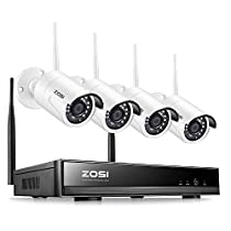 ZOSI 8CH Wireless Security Cameras System 8 Channel 1080P NVR and (4) HD 1080P 2.0MP Outdoor Indoor Home Video Surveillance WiFi Cameras with 65ft Night Vision, Motion Detection