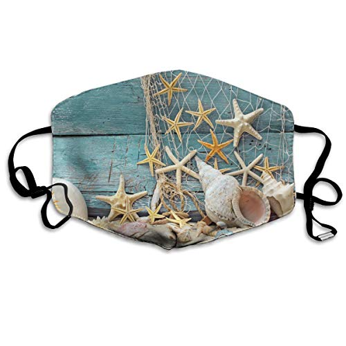 ThiMCC Sea Beach Starfish On Fishing Net Face Mask with Ear Loops Mouth Mask Anti Pollution Respirator Dust Mask Earloop Face Dust