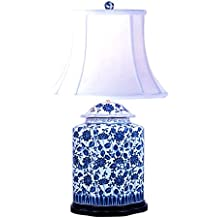 Blue and White Bird and Floral Motif Chinese Porcelain Ginger Jar Table Lamp 27""