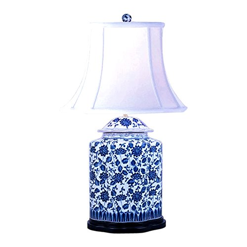 Ginger Porcelain Jar Lamp (Blue and White Bird and Floral Motif Chinese Porcelain Ginger Jar Table Lamp 27