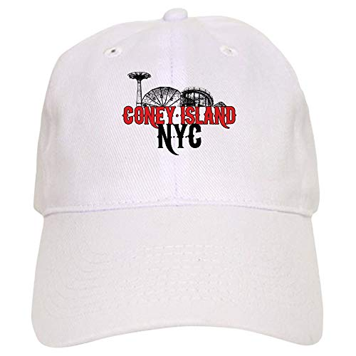 (CafePress Coney Island NYC Baseball Cap with Adjustable Closure, Unique Printed Baseball Hat White)