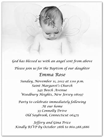 Amazoncom Baby Angel Baptism Christening Invitations Set of 20