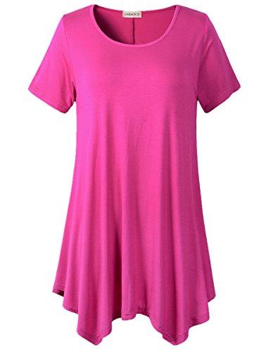 LARACE Womens Swing Tunic Tops Loose Fit Comfy Flattering T Shirt (3X, Fushia)