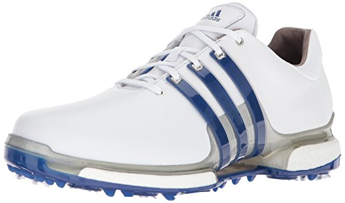 adidas Men's TOUR 360 2.0 Golf Shoe, White/Royal/Silver Metallic, 10 M US