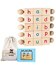Montessori Alphabet Beginning Reader Letter Blocks, Phonics Games and Toys for Kindergarten Age Boys and Girls, Best Montisorri Toys for 3 4 5 and 6 Year Olds. CVC Builders Make Learning Fun!
