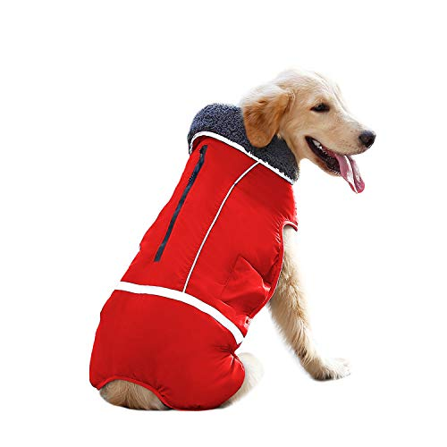 IREENUO Winter Coats for Dogs,Reversible Windproof Waterproof Design Dog Life Jacket Fleece Vest for Small Medium Large Dogs