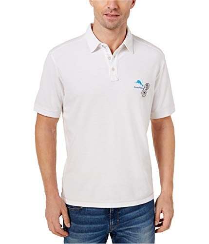 (Tommy Bahama Island Zone Logo Palms Golf Polo Shirt (Color White, Size 3XL))