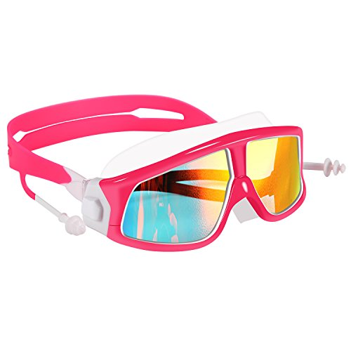 - Spinosaurus Kids Swim Goggles(Age 3-15 Years), Fashionable, Anti-Fog,UV Protection, No Leaking, Coated Lens,with case and earplugs, HD Swim Goggles for Kids Youth and Teenagers (Pink White)...