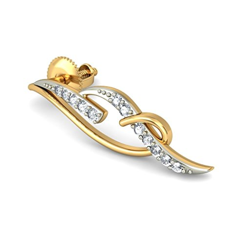 18K Or jaune 0,15CT TW White-diamond (IJ   SI) Boucles d'oreille à tige