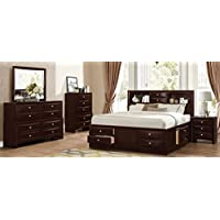 Roundhill Furniture Ankara Wood Bedroom Set, Includes Queen Bed, Dresser Mirror with Nightstand, Espresso