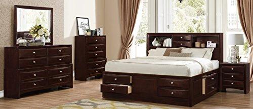 Roundhill Furniture Ankara Wood Bedroom Set, Includes Queen Bed, Dresser Mirror with Nightstand, Espresso