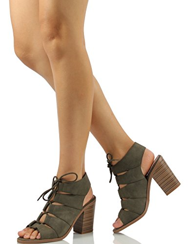 Soda Womens Quince Faux Leather Peep Toe Lace Up Gladiator Slingback Open Back Ankle Boot Shoes