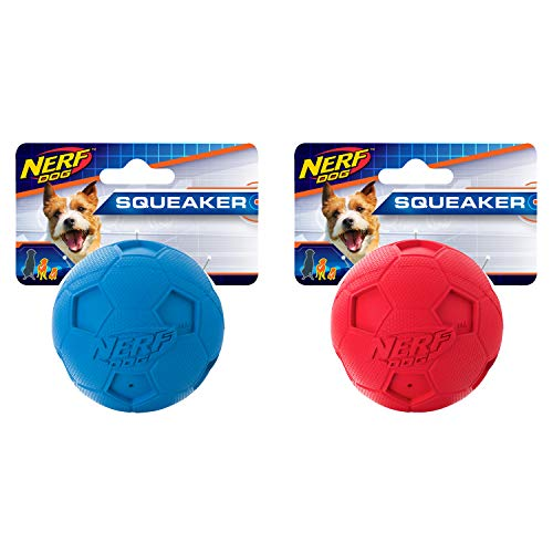 Nerf Dog 1362 Soccer Squeak Ball Dog Toy, Red/Blue, Small