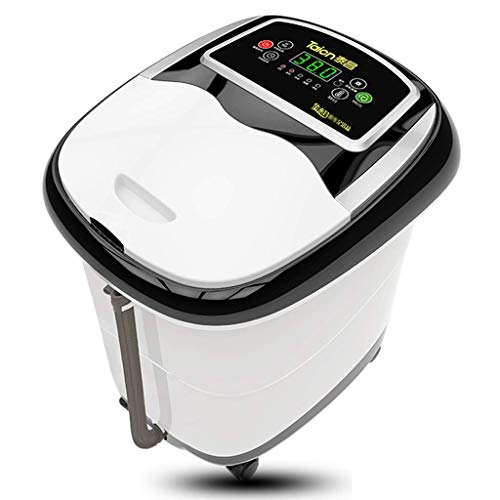 WJSWJ Foot Spa Massager, Heated Rolling Massage Adjustable Time & Temperature Multifunction Heat Infrared Killing Germs Fully Automatic Suitable for Home (Color : Black White Cover)