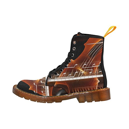D-Story Shoes Violin With With Music Note Lace Up Martin Boots For Women