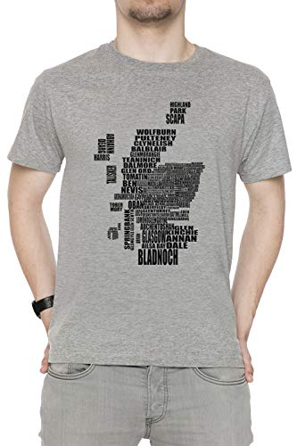 T All shirt Maniche Corte Dimensioni Girocollo Scotland Grey Tutti Sizes Grigio Map Of Uomo Distillery Men's wX6aAqa