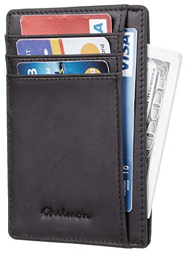 Chelmon Slim Wallet RFID Front Pocket Wallet Minimalist Secure Thin Credit Card Holder (crazy horse black) ()