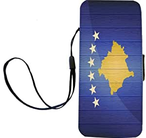 Rikki Knight Kosovo Flag on Distressed Wood Flip Wallet iPhoneCase with Magnetic Flap for iPhone 5/5s - Kosovo Flag on Distressed Wood