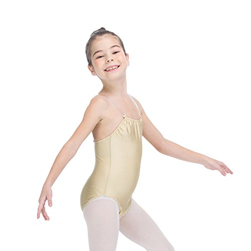 Kids and Girls Camisole Ballet Leotard with Adjustable Clear Strap Large Flesh...
