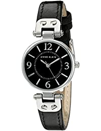 Womens 109443BKBK Silver-Tone Black Dial and Black Leather Strap Watch