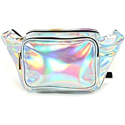 Sinhooyi Cute Holographic Travel Fanny Pack for Women Fashion Rave Shiny Festival Waist Belt Bag