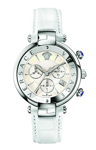 Versace Women's 'Reve' Swiss Quartz Stainless Steel and Leather Casual Watch, Color White (Model: VAJ020016)