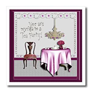 ht_23878_3 Beverly Turner Invitation Design - Tea Party Invitation Tea Party Room Pink - Iron on Heat Transfers - 10x10 Iron on Heat Transfer for White Material