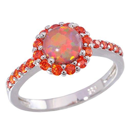 CiNily Orange Fire Opal Garnet Silver Women Jewelry Gemstone Ring Size 5-12 (5)
