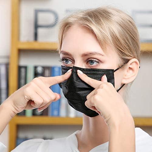 DIOLV 50 Pcs Disposable Face Mask 3 Layer Protective Masks Black