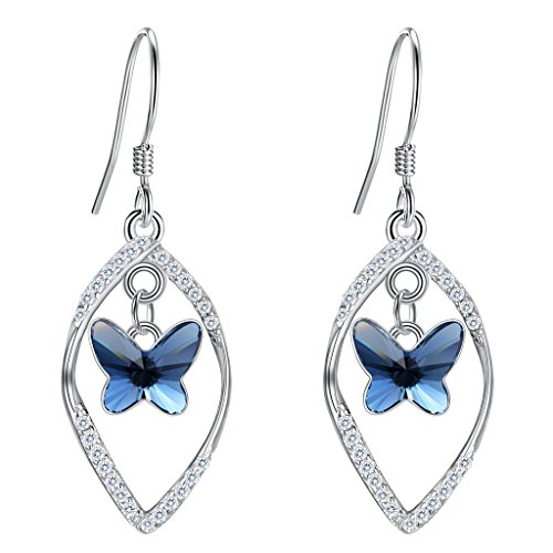 Silver Dangle Wrap Wire (EleQueen 925 Sterling Silver CZ Butterfly Vase French Hook Dangle Earrings Denim Blue Made with Swarovski Crystals)