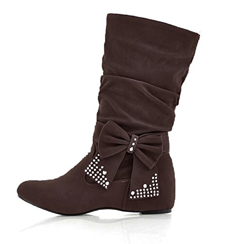Nonbrand Ladies Large size internal wedge boots slip on velvet bow shoes Brown nJAI2h