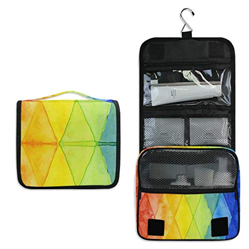Hanging Toiletry Bag Watercolor Abstract Shapes Travel Organizer for Makeup and Toiletries for Men Women,Hang Case for Cosmetics and Toilet Accessories with Metal Swivel Hook
